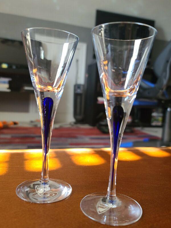 Orrefors Intermezzo Blue Snaps Glasses (2) Erika Lagerbielke