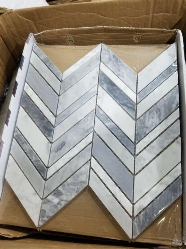 Carlton Gray 11.625 in. x 12 in. Chevron Marble Wall Floor Mosaic Tile box of 9
