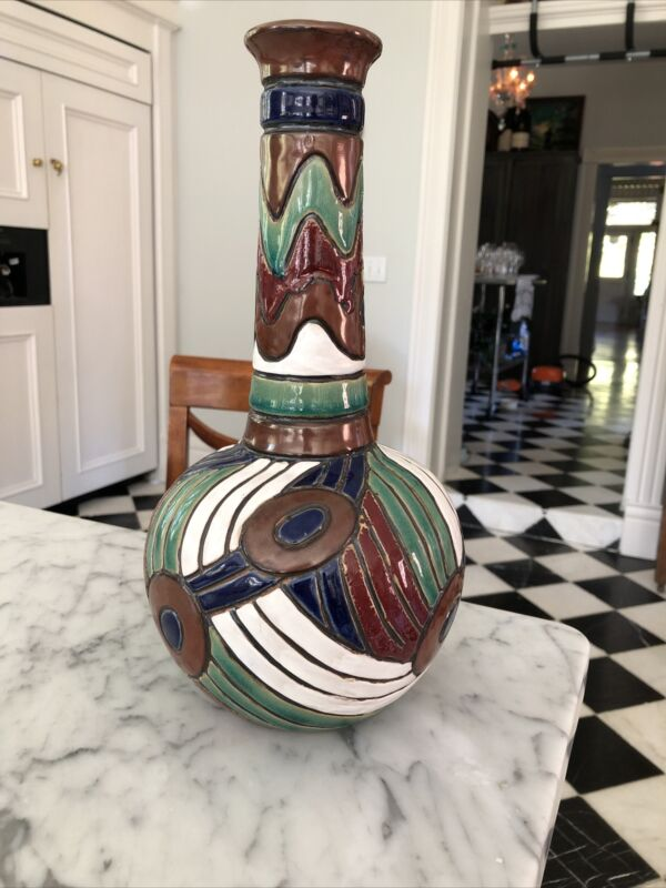 Wonderful Vintage Czechoslovakia Amphora Enamel Art Pottery Abstract Vase