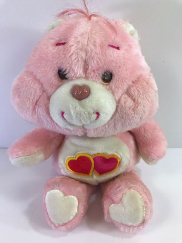 """Vintage 1983 Kenner Care Bear LOVE A LOT Double Hearts Pink 13"""" Plush Toy"""