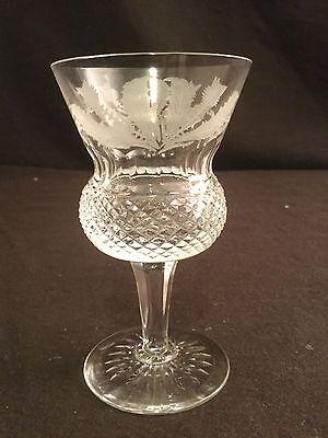 Edinburgh Crystal Thistle Claret Wine Glass Cut SIGNED 4 1/2