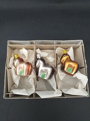"VINTAGE LOOK CHRISTMAS TREE SMALL HORSES DECORATIONS  x 3 GLASS ""CZECH"""