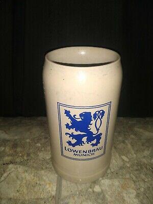 Vintage Lowenbrau Munich Stein Stoneware Germany 1 Liter 7.25