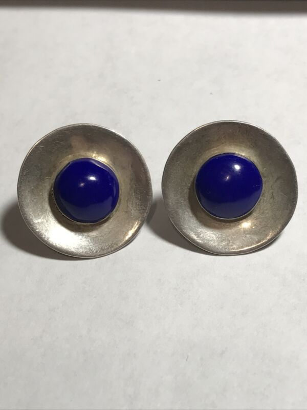 """STERLING SILVER ROUND LAPIS LAZULI EARRINGS MEXICO 1""""~Nice"""