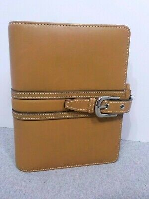 Franklin Covey Tan Top Grain Leather 6-ring Compact Binder Planner Buckle