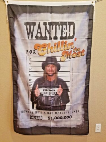 """Kid Rock """"Chillin the Most"""" rock & roll flag man cave flag Huge! 3x5 foot!"""