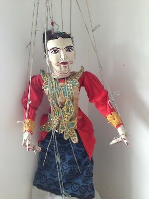 Beautiful Vintage Oriental marionette from Indonesia, moving mouth
