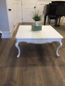 French Country Coffee Table, Grain Sack Design