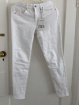 Womens Zara Mid Rise Skinny 10 White Denim Jeans BNWT