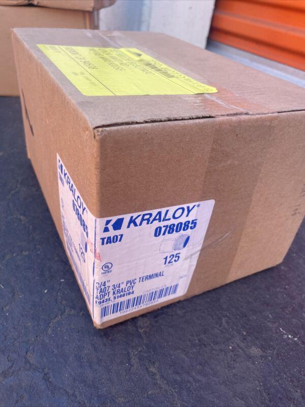 "Lot Of 125. KRALOY 3/4"" PVC Conduit Terminal Adapter TA07 Connector 078085"