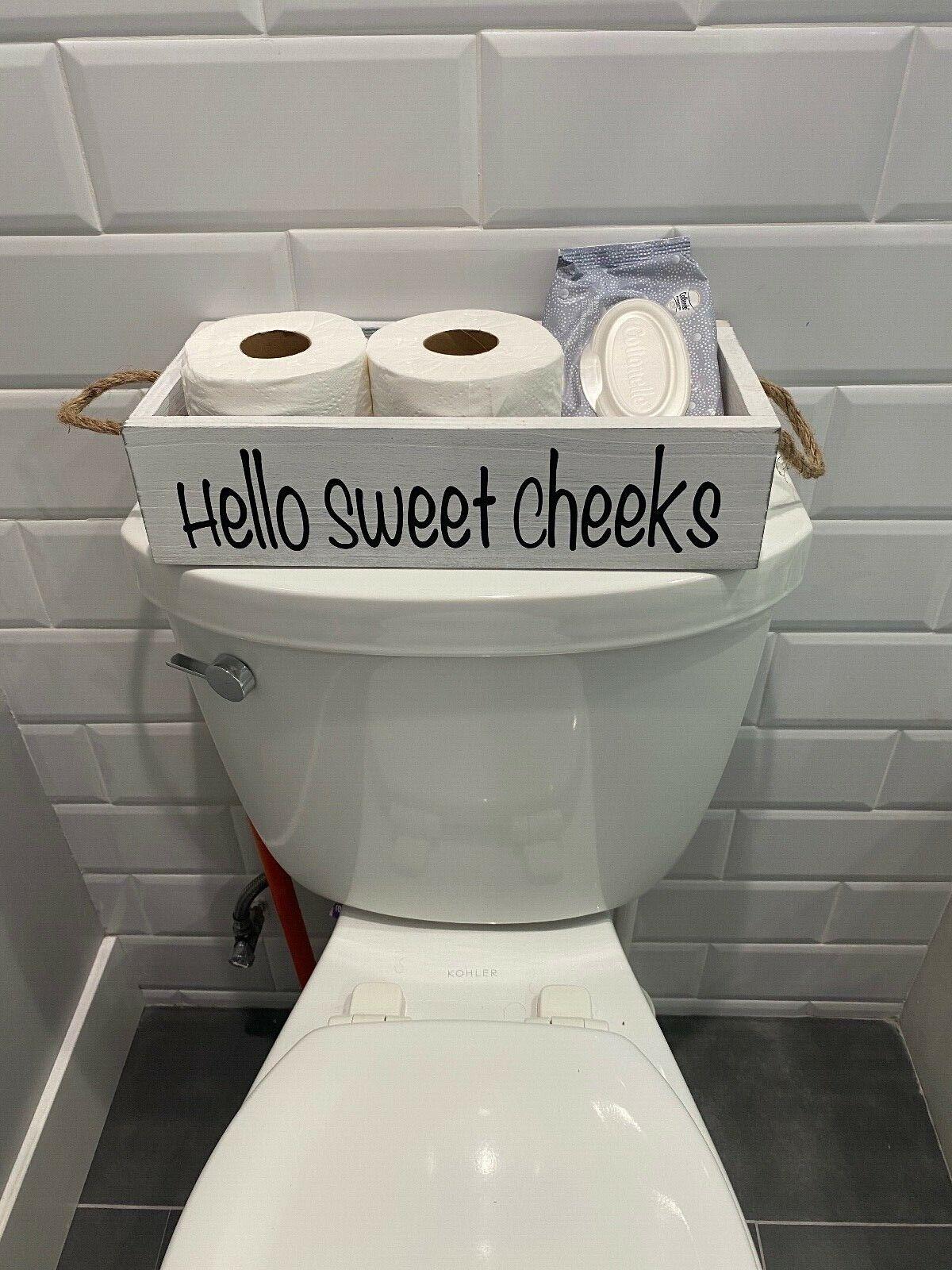 Nice butt, hello sweet cheeks wood bathroom Box, Toilet Paper wooden holder Bath