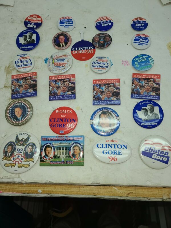 LOT OF (24) BILL CLINTON PIN BACK BUTTONS