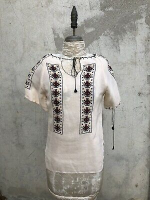 Romanian Peasant Blouse (Antique 1930s Creamy Linen Peasant Blouse Maroon Embroidery Romanian Vintage )