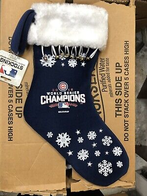 Chicago Cubs Christmas Stocking 2016 World Series Champions Blue White Snowflake Chicago Cubs Christmas Stocking