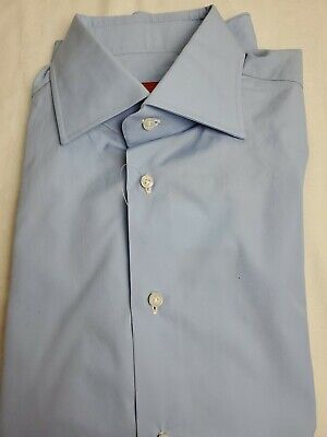 Isaia Blue Dress Shirt 15.5 39 NWT $495