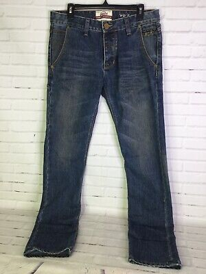 Superdry Mens 31x32 Foundry Slim Carpenter Denim Jeans Distressed Button Fly