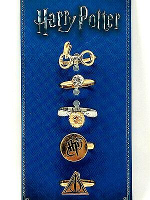 Harry Potter 5er Set Damen Fingerring Ring Schmuck Brille Goldener Schnatz Blitz