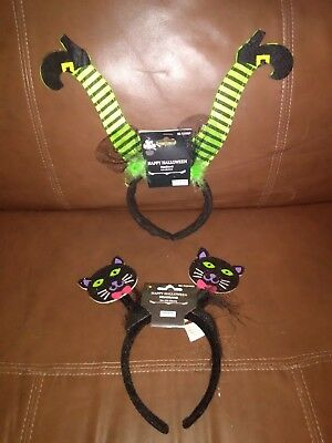 Black Cats and Witch Legs Halloween Headbands Set of - Halloween Witch Headbands