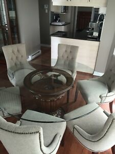 Glass round table and 6chairs