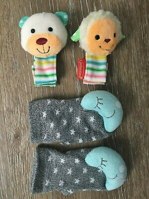 4 PIECES - INFANTINO ANIMAL WRIST RATTLES & CUDDLE DUDS MOON SOCK RATTLES