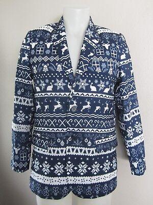 Elf Suits (Tipsy Elves Eggnog Spiker Navy Ugly Christmas Blazer Suit Jacket 36)