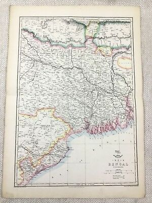 Antique Map of India Bengal Indian Continent Old Hand Coloured 19th Century