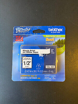 Genuine Brother Tze-231 12 Black On White P-touch Tz Tape New