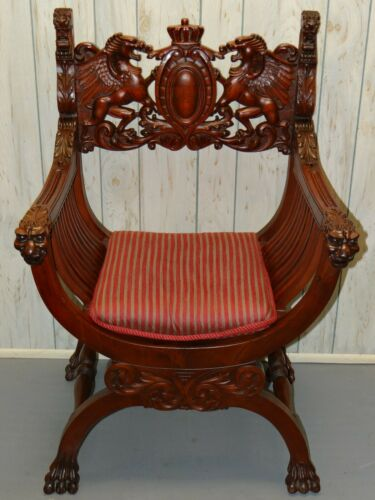 Magnificent RJ Horner style Mahogany Throne Chair w Winged Griffins Lions Heads
