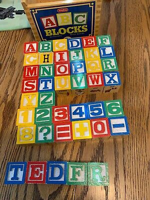 Schylling ABC Wooden Alphabet & Number Blocks Toy Lot of 43 Blocks IN WOOD BOX