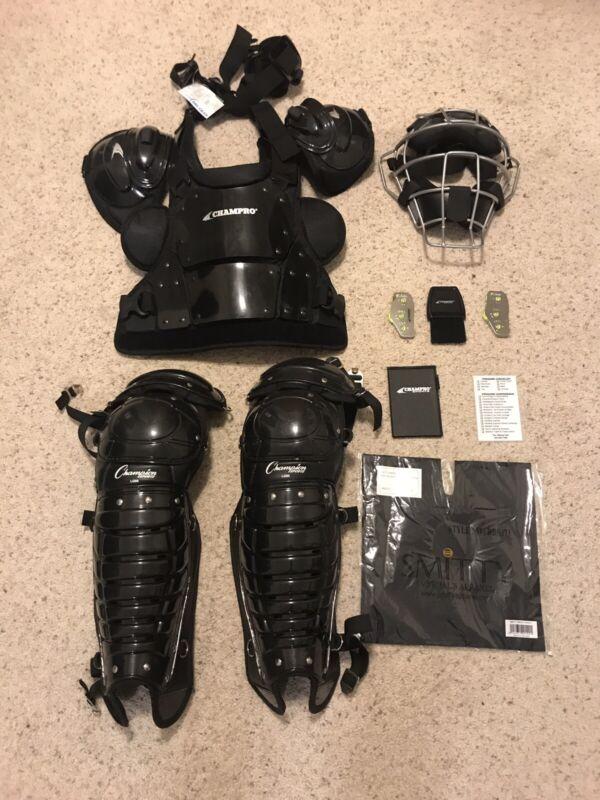 CHAMPRO Baseball/Softball Umpire's Set - Pro Chest Plate, Leg Guard, Mask + MORE