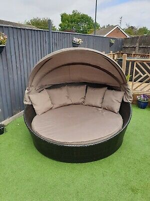 Rattan Garden Furniture Daybed with Canopy