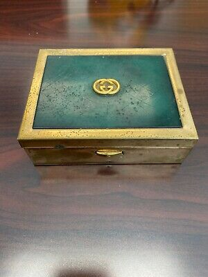Rare Vintage 1970s GUCCI EMERALD GREEN & Gold Cigarette Box w/Wood Interior