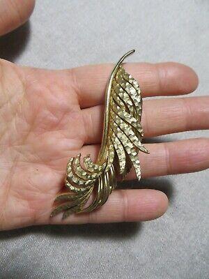Vintage 60's  Marcel Boucher Gold Plated Leaf /Feather Brooch Pin signed/number - Gold Plated Leaf Brooch