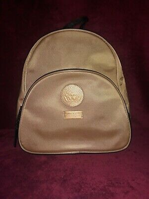 Versace Parfums Tan & Black Backpack, RARE COLOR!