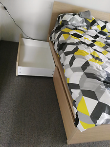 Ikea Malm Queen Bed frame with 4 drawers Greenslopes Brisbane South West Preview