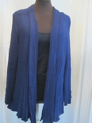 New LANE BRYANT Ribbed Shawl Collar Fluted Cardigan Sweater Overpiece Blue 18/20