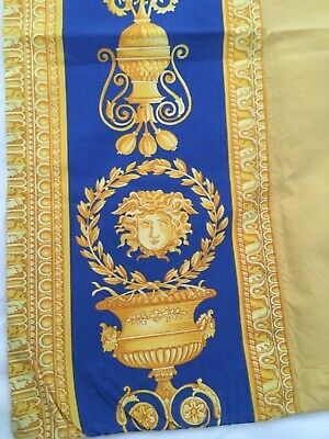 VERSACE  MEDUSA PILLOW CASE BLUE YELLOW ORIGINAL MADE  ITALY DISCONTINUED RARE