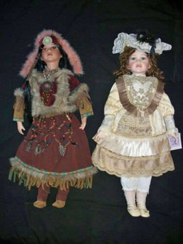 """(2) 30"""" PORCELAIN DOLLS CATHAY NATIVE AMERICAN & COLLECTIBLE MEMORIES VICTORIAN"""