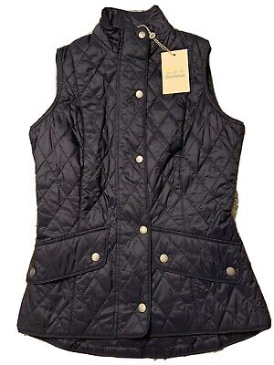 NWT Barbour Flyweight Cavalry Quilted Gilet Vest US Size 12 UK 16 $159 Navy Blue