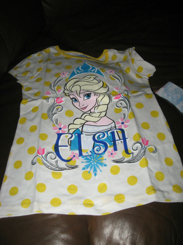 NWT Disney Frozen Yellow Polka Dot 100% Cotton Elsa T Shirt 5