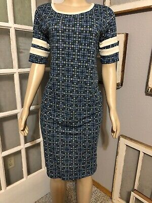 LuLaRoe Size Large Julia Dress Blue Print