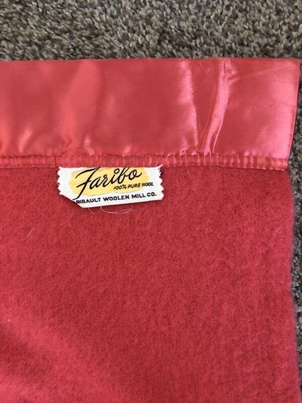 "ECC~ Vintage Faribo Blanket 100% Pure Wool Satin Trim SALMON COLOR 86"" X 71"""