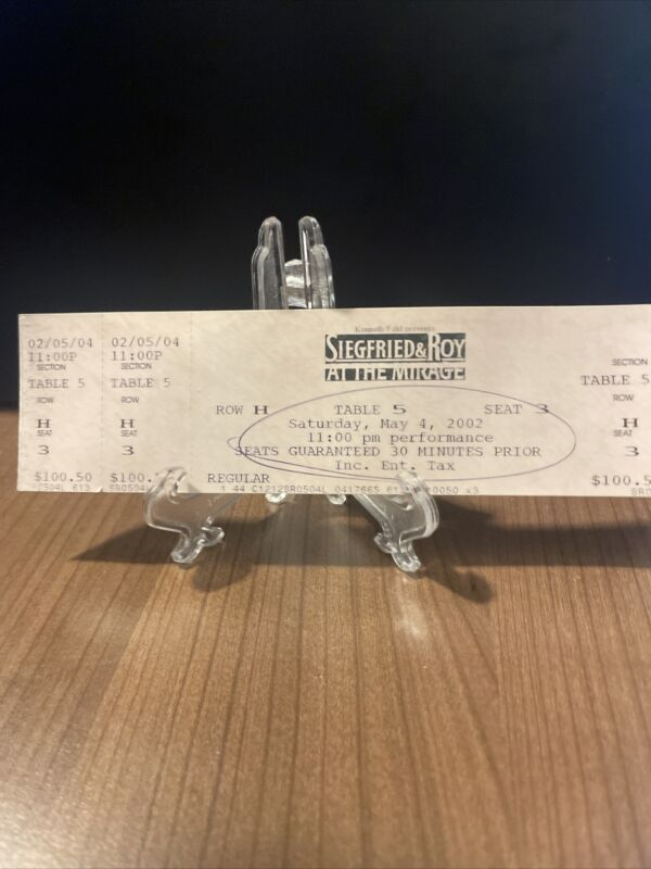 Siegfried & Roy Ticket Unused Vintage Saturday May 4 2002 The Mirage Las Vegas