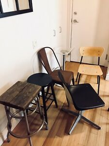 VARIOUS VINTAGE CHAIRS & BAR STOOLS RETRO ANTIQUE DINING OFFICE