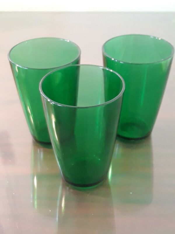 Vintage Emerald Green Juice Glasses