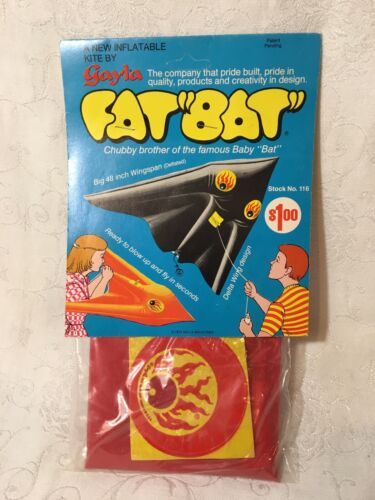Vtg Gayla Fat Bat Inflatable Kite Chubby Brother Of Baby Bat