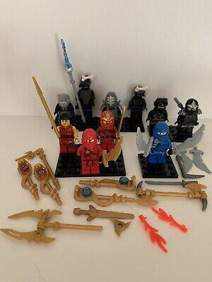 8 Lego Ninjago Minifigs Cole, Cole w Armor, Jay Kai Nya Weapons Lord Garmadon