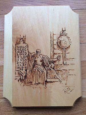 Pyrography Art On Pine Saint Mesrop And A Man Signed Rita Lebanese Artist