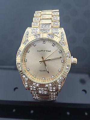 Luxury Mens diamond dial quartz Gold bracelet watch hiphop bling iced out