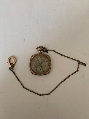 Vintage Elgin Art Deco Square Pocket Watch With Watch Chain
